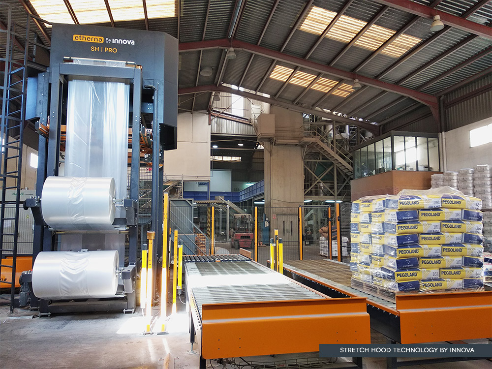 Cement Pallet Protection with Stretch Hood by Innova